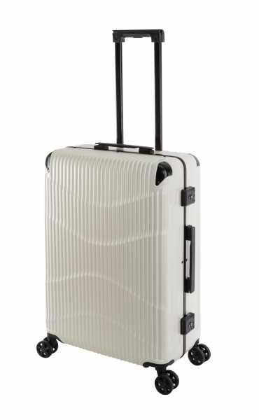Travelhouse New York Wave Koffer Weiß M-65cm Alu-Rahmen Polycarbonat Hartschale Reisetrolley Suitecase Trolley 2X TSA Zahlenschloss 4 Doppelräder 360° Rollen Markenqualität Vol. 65L
