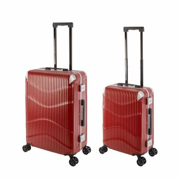 Travelhouse New York Wave Koffer Rot S-55cm & M-65cm Alu-Rahmen Polycarbonat Hartschale Reisetrolley Suitecase Trolley Koffer Set