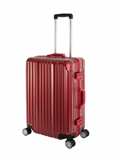 Travelhouse London Koffer Rot M-65cm Alu Rahmen Polycarbonat Hartschale Reisetrolley Suitecase Trolley 2X TSA Zahlenschloss 4 Doppelräder 360°Rollen Marken-Qualität Vol. 67L