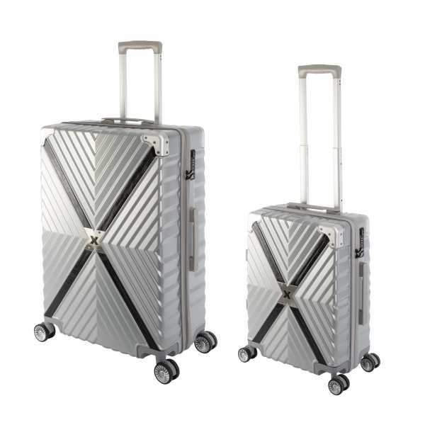 Travelhouse Miami X Zip Koffer Silber S-55cm & L-75cm robuste Polycarbonat Hartschale Reise Trolley Koffer Set