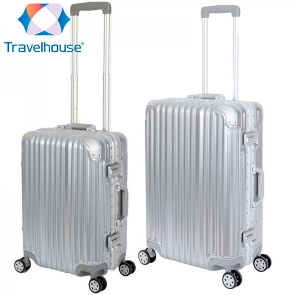 2er Reisekoffer Set - Hartschalen Polycarbonat Alu Koffer Trolley Reise Urlaub | Travelhouse London - Koffer Set S+M, Silber