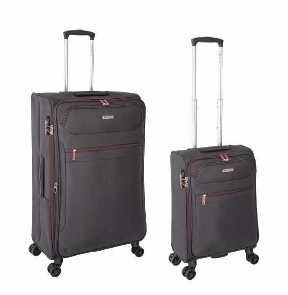Tropea High Density Weichgepäck Koffer Grau S-55cm & L-78cm 4Rollen TSA Schlösser Reisekoffer Set
