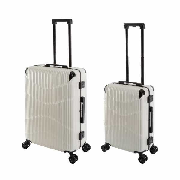 Travelhouse New York Wave Koffer Weiß S-55cm & M-65cm Alu-Rahmen Polycarbonat Hartschale Reisetrolley Suitecase Trolley Koffer Set