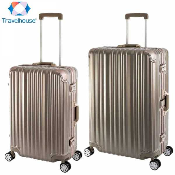 Travelhouse London - 2er Reisekoffer Set M+L - Polycarbonat Hartschale Gold