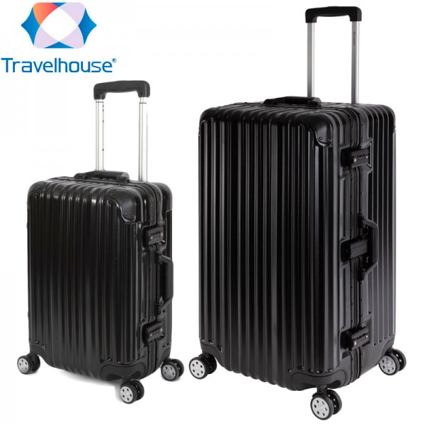 Travelhouse London 2er Kofferset S, XL, Schwarz 55cm, 75cm
